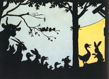 Les animaux de la ferme en spectateurs du canard et du lapin, ombres chinoises.