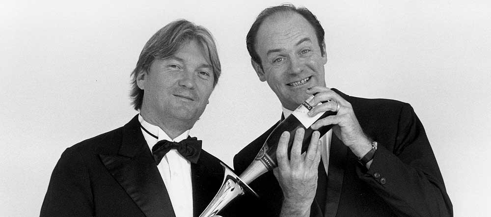 Eric Le Lann et Jacques Bonnaffé, pavillon de trompette et bouteille de champagne